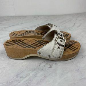 Burberry White Nova Check Wood Slide On Shoes